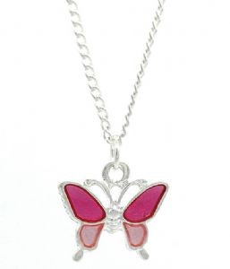 Small Pink Butterfly Necklace - Perfect Stocking Filler,